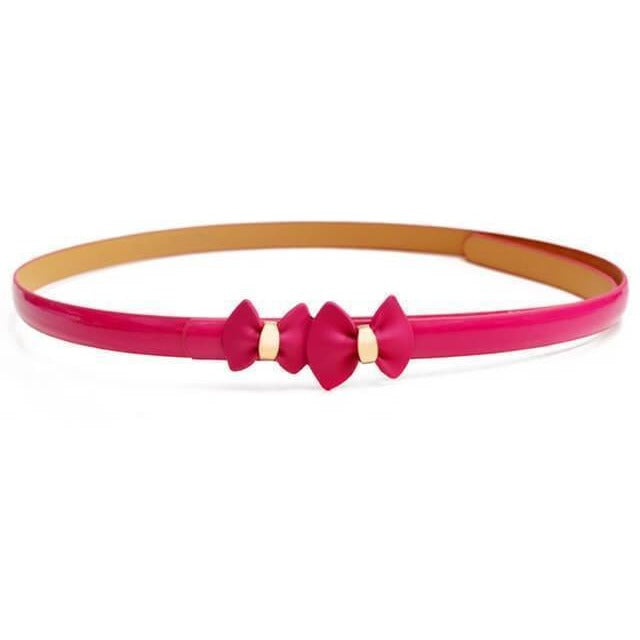 Women Bow Leather Waist Belt-Belt-Sour Grapes Online-Rose-105cm-