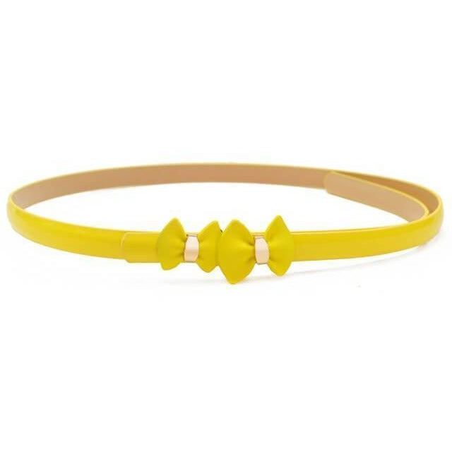 Women Bow Leather Waist Belt-Belt-Sour Grapes Online-Yellow-105cm-