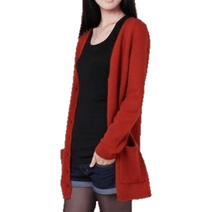 Women Cashmere Cardigan Loose Sweater Coat With Pockets-Cardigan-Sour Grapes Online-rust red-S-