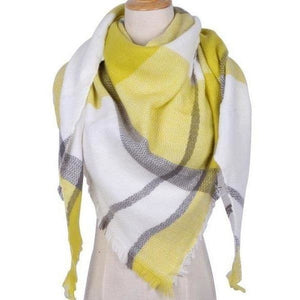 Women Cashmere Scarf Triangle Shawl Plaid Wool Blanket-Scarf-Sour Grapes Online-
