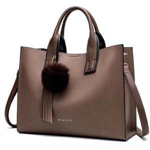 Women Casual Brown Leather Crossbody Bags Designer With Top-Handle