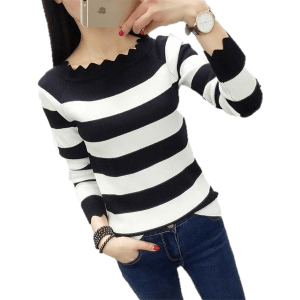 Women Casual Striped Crochet Knitted Fashion Sweaters-Top-Sour Grapes Online-Black-L-