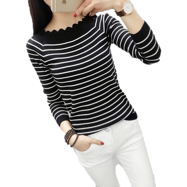 Women Casual Striped Crochet Knitted Fashion Sweaters-Top-Sour Grapes Online-Black Striped-XXL-