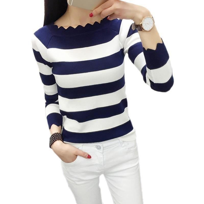 Women Casual Striped Crochet Knitted Fashion Sweaters-Top-Sour Grapes Online-Navy blue-XXL-