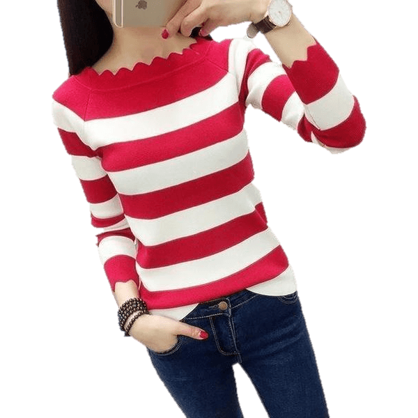 Women Casual Striped Crochet Knitted Fashion Sweaters-Top-Sour Grapes Online-Red-L-
