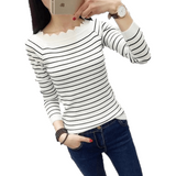 Women Casual Striped Crochet Knitted Fashion Sweaters-Top-Sour Grapes Online-White Striped-XXL-