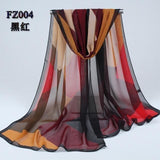 Women Chiffon Scarf Soft Silk Shawl - 11 colors-Scarf-Sour Grapes Online-Black Red-