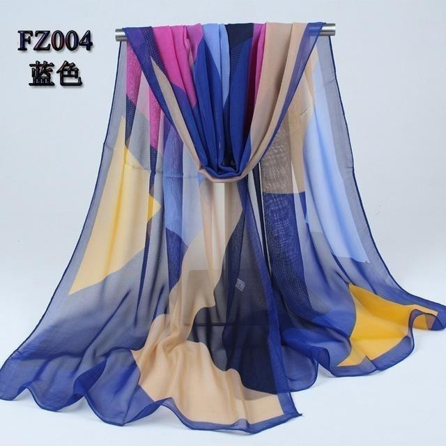 Women Chiffon Scarf Soft Silk Shawl - 11 colors-Scarf-Sour Grapes Online-Blue-