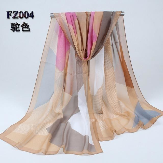 Women Chiffon Scarf Soft Silk Shawl - 11 colors-Scarf-Sour Grapes Online-Camel 1-