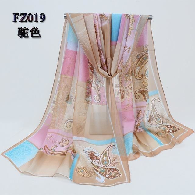 Women Chiffon Scarf Soft Silk Shawl - 11 colors-Scarf-Sour Grapes Online-Camel 2-