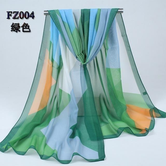 Women Chiffon Scarf Soft Silk Shawl - 11 colors-Scarf-Sour Grapes Online-Green-