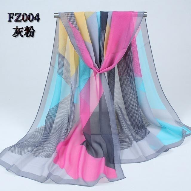 Women Chiffon Scarf Soft Silk Shawl - 11 colors-Scarf-Sour Grapes Online-Grey Pink-