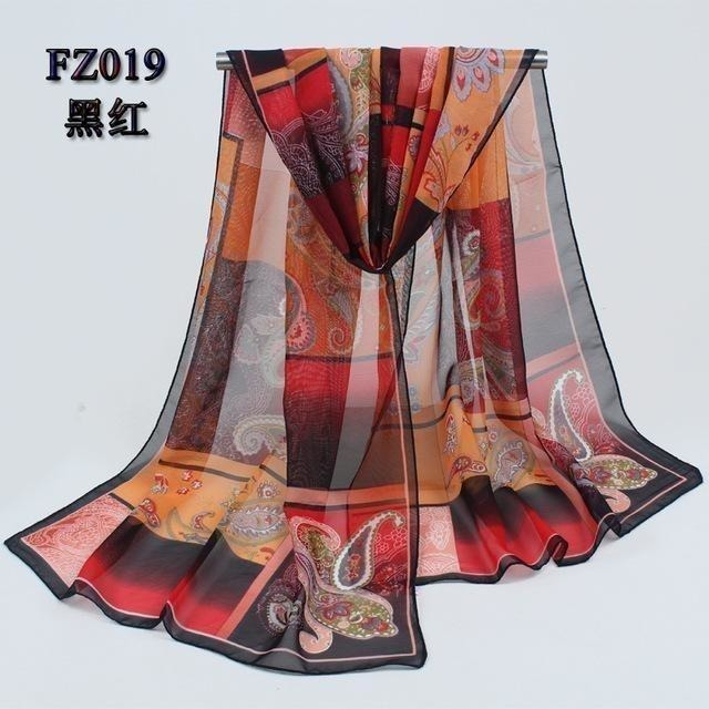 Women Chiffon Scarf Soft Silk Shawl - 11 colors-Scarf-Sour Grapes Online-Red Black-