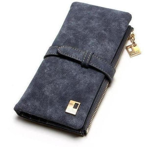 Women Drawstring Leather Two Fold Zipper Long Wallets-Wallet-Sour Grapes Online-Black-