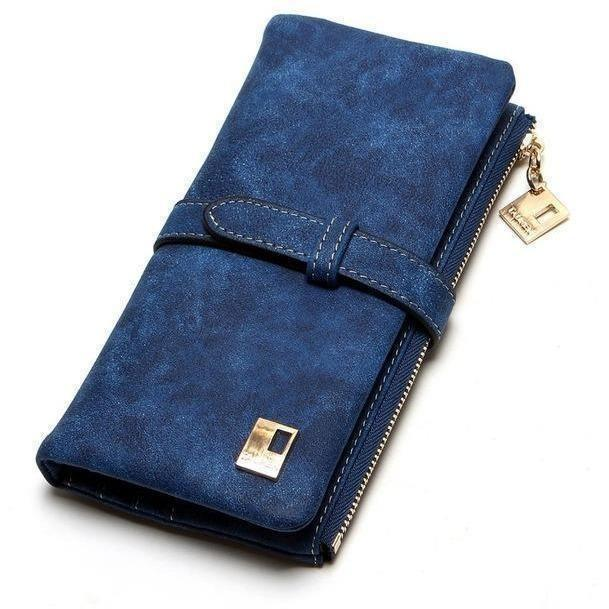 Women Drawstring Leather Two Fold Zipper Long Wallets-Wallet-Sour Grapes Online-Navy-