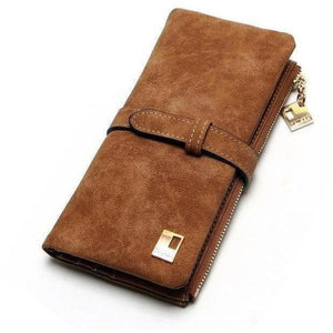 Women Drawstring Leather Two Fold Zipper Long Wallets-Wallet-Sour Grapes Online-SaddleBrown-