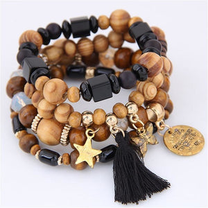 Women Ethnic Charm Wood Round Beads Bracelet-Jewellery-Sour Grapes Online-Black-