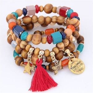 Women Ethnic Charm Wood Round Beads Bracelet-Jewellery-Sour Grapes Online-Red-