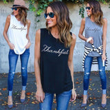 Women Fashion Casual Plus Size Sleeveless Summer Rock Punk Style Letter Loose Black White Grey Tops-Top-Sour Grapes Online-Black-S-
