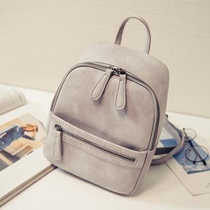 Women Fashion Casual PU Leather Small Backpack-Backpack-Sour Grapes Online-Grey-