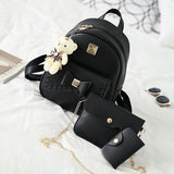 Women Fashion Cute Bear PU Leather Backpack Set-Backpack-Sour Grapes Online-Black-