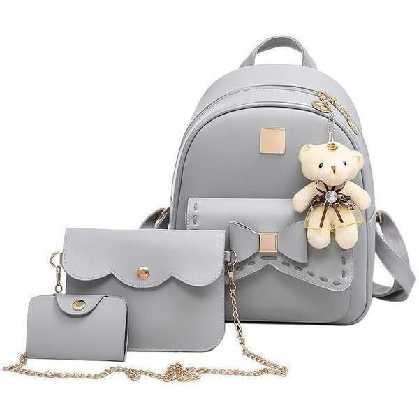 Women Fashion Cute Bear PU Leather Backpack Set-Backpack-Sour Grapes Online-Grey-
