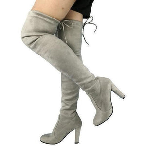 Women Faux Suede Thigh High Over the Knee Boots-Shoes-Sour Grapes Online-Light Grey-5-