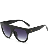 Women Flat Top Mirror Cat Eye Sunglasses-Shades-Sour Grapes Online-Black-