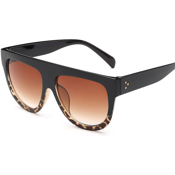 Women Flat Top Mirror Cat Eye Sunglasses-Shades-Sour Grapes Online-Black Leopard-