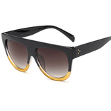 Women Flat Top Mirror Cat Eye Sunglasses-Shades-Sour Grapes Online-Black yellow-