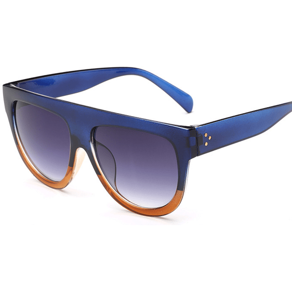Women Flat Top Mirror Cat Eye Sunglasses-Shades-Sour Grapes Online-Blue-