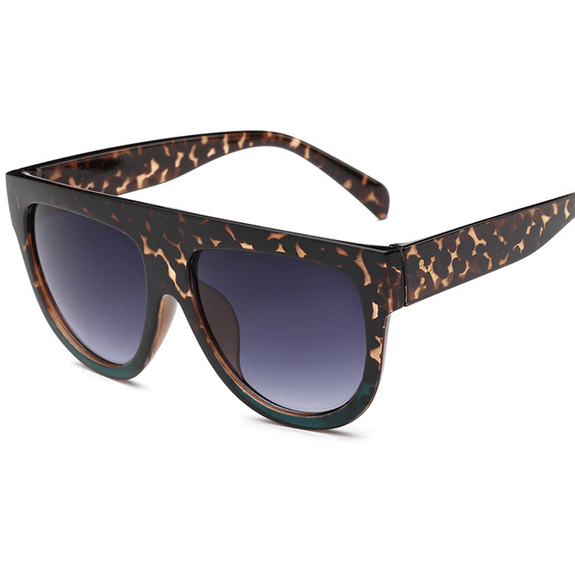 Women Flat Top Mirror Cat Eye Sunglasses-Shades-Sour Grapes Online-Leopard green-