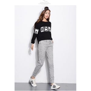 Women Fleece Pants Elastic Waist Harem Sweatpants-Sweatpants-Sour Grapes Online-Grid Light Grey-S-