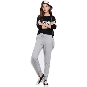 Women Fleece Pants Elastic Waist Harem Sweatpants-Sweatpants-Sour Grapes Online-Solid Light Grey-S-