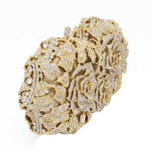 Women Flower Shaped Hollow Out Crystal Gold Color Metal Clutch-Clutch-Sour Grapes Online-Gold-