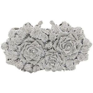 Women Flower Shaped Hollow Out Crystal Silver Color Metal Clutch-Clutch-Sour Grapes Online-Silver-