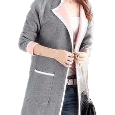 Women Full sleeve Knitted Sweater with Slim Pockets-Coat-Sour Grapes Online-Grey-XXL-