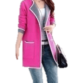 Women Full sleeve Knitted Sweater with Slim Pockets-Coat-Sour Grapes Online-Pink-XXL-