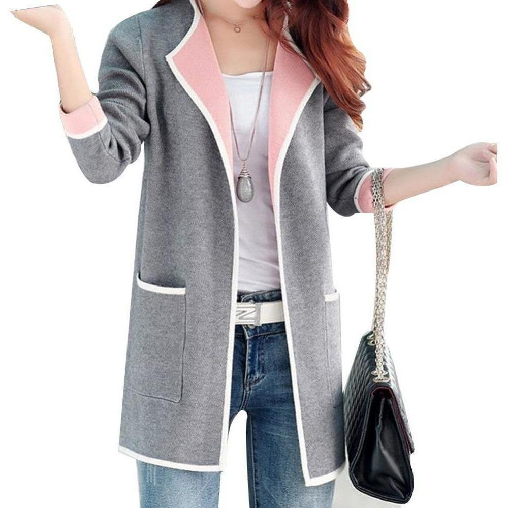 Women Full sleeve Knitted Sweater with Slim Pockets-Coat-Sour Grapes Online-Grey-S-