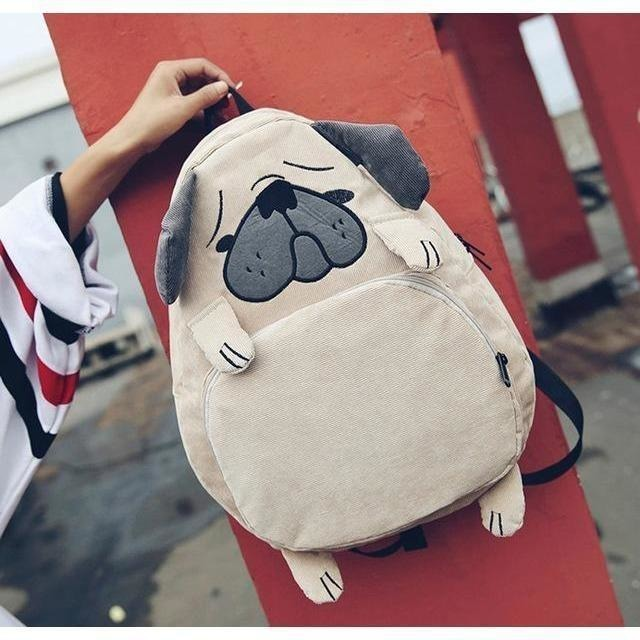 Women Funny Canvas Cute Dog Fox Ear Embroidery Corduroy Backpack-Backpack-Sour Grapes Online-Khaki-