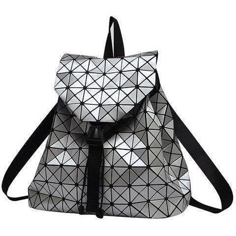 Women Geometric Plaid Sequin Drawstring Backpack-Backpack-Sour Grapes Online -Silver- 3635886d6