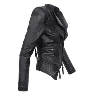 Women Gothic Motorcycle Black Leather Jacket-Jackets-Sour Grapes Online-Black-S-