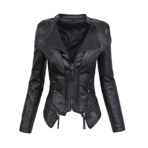Women Gothic Motorcycle Black Leather Jacket-Jackets-Sour Grapes Online-Black-M-
