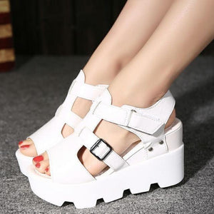 Women High Heel Sandals Open Toe Platform Shoes-Sandals-Sour Grapes Online-White-5-
