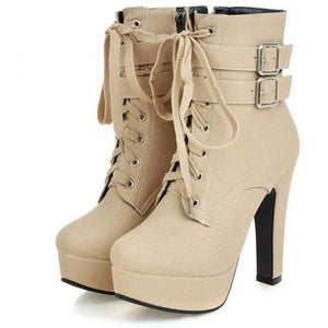 Women High Heels Ankle Boots Beige Yellow Platform Shoes for Winter-Shoes-Sour Grapes Online-Beige-4-Cloth