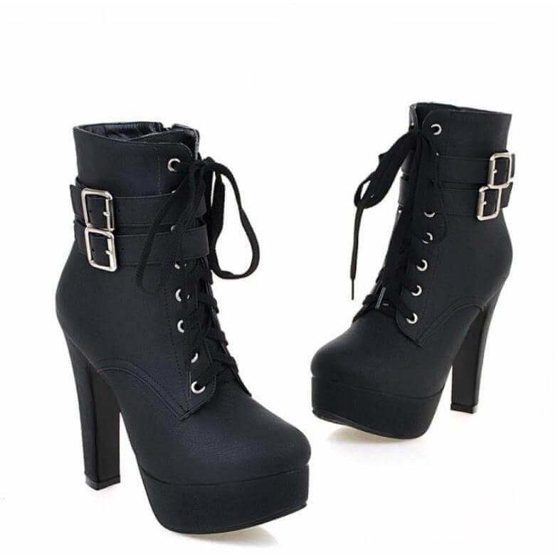 c2de4527845 Women High Heels Ankle Boots Black Brown Platform Shoes for Winter ...