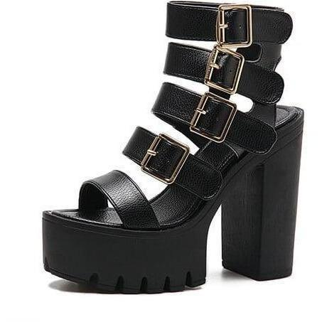 Women High Heels Buckle Strap Short Gladiator Sandals-Sandals-Sour Grapes Online-Black-4.5-
