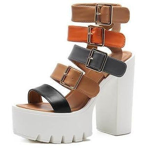Women High Heels Buckle Strap Short Gladiator Sandals-Sandals-Sour Grapes Online-Brown-4.5-