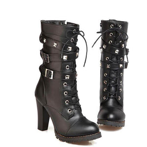 Women High Heels Platform Lace Up Buckle Shoes Black Leather Boots-Shoes-Sour Grapes Online-Black-Cloth-4