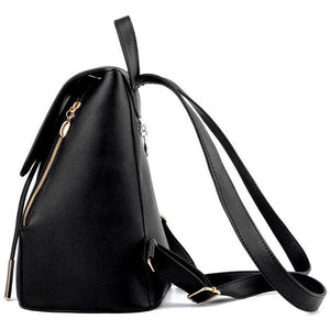 Women High Quality Fashion PU Leather Top-Handle Backpack-Backpack-Sour Grapes Online-Black-